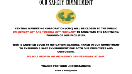 CMC closure Mon 22 and Tue 23 Feb 2021 for Sanitizing